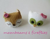 Lovely Olive the Owl and Faye the Fox Hand Sewn and Beaded Heirloom Quality Felt Brooch Set