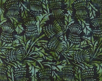 Blue/green batik with thistles.
