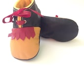 SALES 18-24 Months Slippers / Baby Shoes Lamb Leather Vintage Series  Mustard Black Red