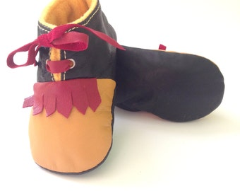VENTAS 18-24 meses zapatillas / zapatos de bebé cordero cuero Vintage serie rojo negro mostaza