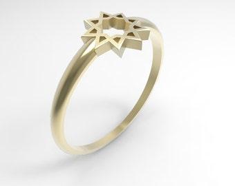 Bahai nine pointed star Ring - Delicate Baha'i Ring - Gold Baha'i Ring