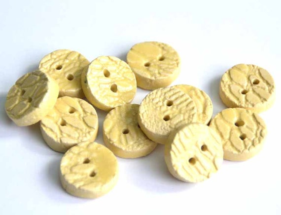 6 Pieces Handmade Ceramic Buttons With A Laceprint In Soft