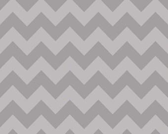 Gray / Grey Chevron Fabric - Gray Tone on Tone by Riley Blake. 100% cotton. Modern Medium Chevron C380-41