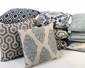 11 Sizes Available: Indigo Decorative Throw Zipper Pillow Cover 16x16 18x18 20x20 22x22 inches-FQX9