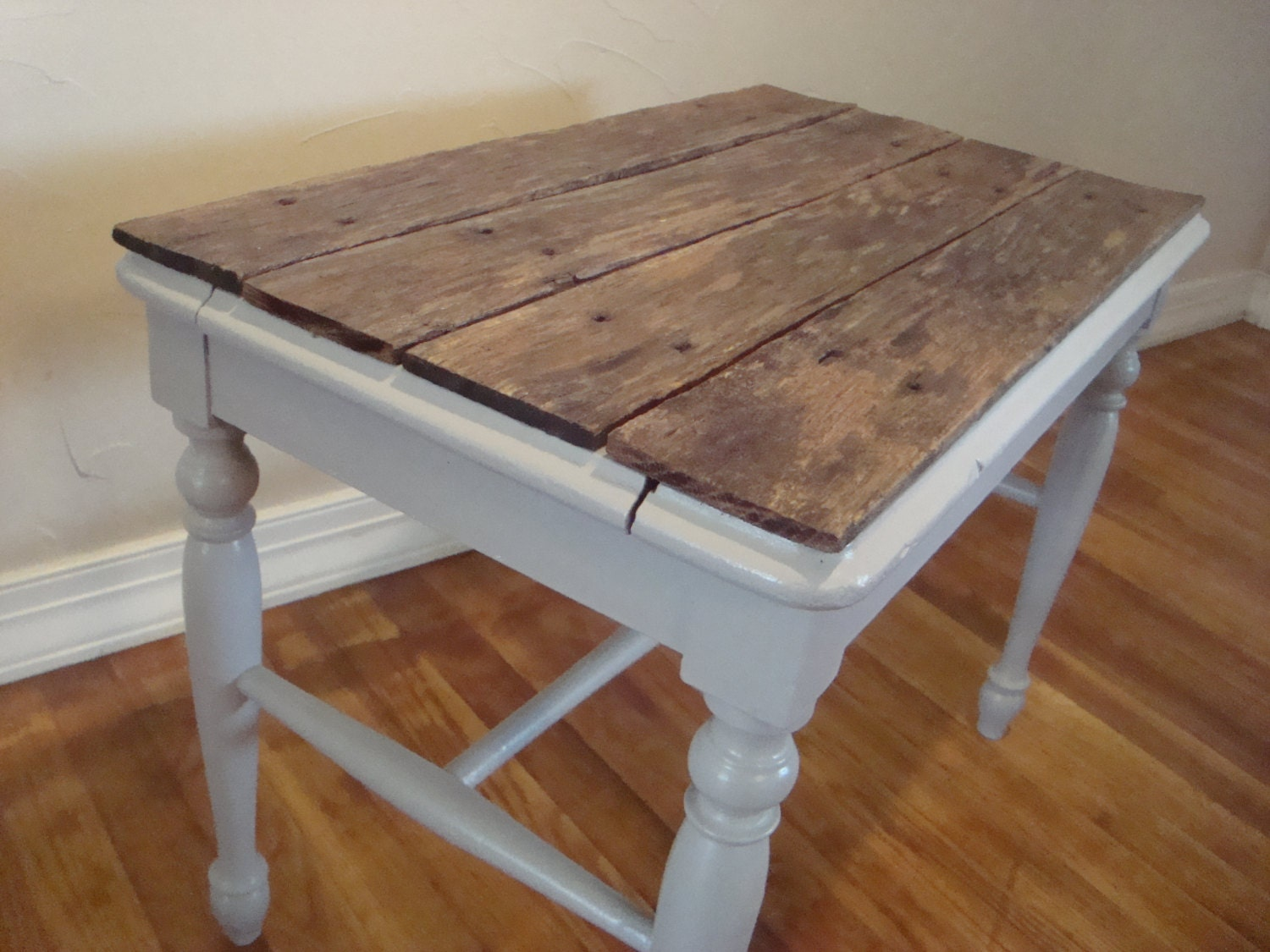 Pallet Top Table In Grey Side Table End Table Nightstand