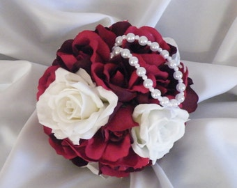 Wedding Kissing Ball Pomanda Red and White Rose