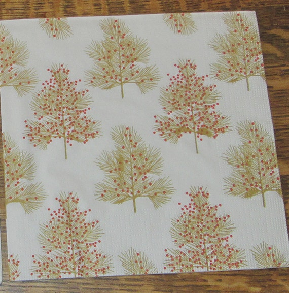 5 New German Gold Brown Christmas Trees W Red Berries Dots: brown and gold christmas tree