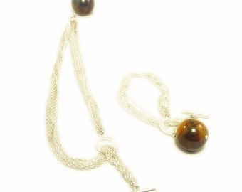 Silver Tone Multiple Chain Necklace and Bracelet Set with Marbled Brown Ball Accents ( Demi-Parure)