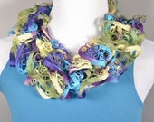 Fall Colors Lightweight Hand Knit Ruffle Scarf, purple Turquoise, Pale Yellow and Green Scarf