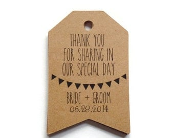 Set of 40 Thank You Wedding Tags, Wedding Favor Tags, Personalized Tags, Thank You Favor Tags