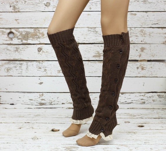 Knitted Leg Warmers Brown Lace Button Up Boot By DayfitFashion