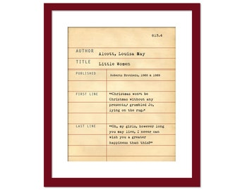 Little Women by Louisa May Alcott - Library Card Art Print - Book Lovers Poster - Library Poster - Book Gift - Dewey Decimal System