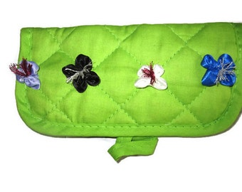 Green fabric eyeglass case, Reading glasses case, Eyeglasses case