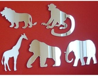 Set of 5 Safari Animal Mirrors, Lion, Giraffe, Monkey, Gorilla & Elephant