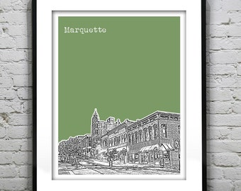 Marquette Skyline Art Print Poster Michigan MI