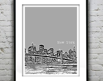 New York City Skyline Poster Art Print NYC Brooklyn Bridge