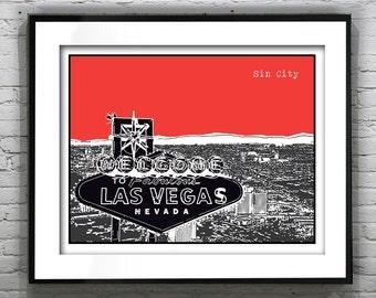 Sin City Las Vegas Poster Art Print Nevada NV Version 5
