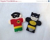 Will NOT Ship for Easter Batman and robin finger puppets