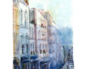 Print - parisian street - watercolor painting