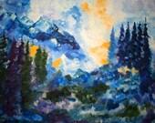 Original Art Print. Rocky mountain pine tree landscape cloudy sky dark green blue purple  original oil painting by BrandanC