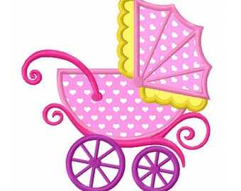 Baby Carriage Applique Machine Embroidery Design NO:0181