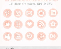 Watercolor Social media icons set of 15 x 7 colors pink peach grey lavender sand blue mint - Eps and PNG - instant download