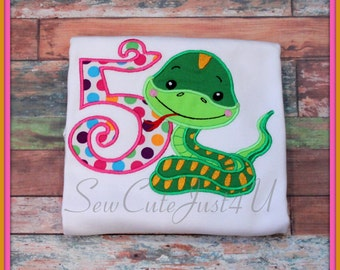 Snake Themed Personalized Birthday Number Tee