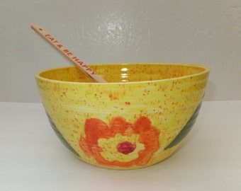 Large Hand Designed Yellow Ceramic Serving Bowl with Flowers