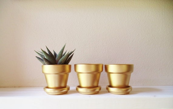 Gold Mini planters, 2 inch succulent pots, Wedding favors, mini cactus pots
