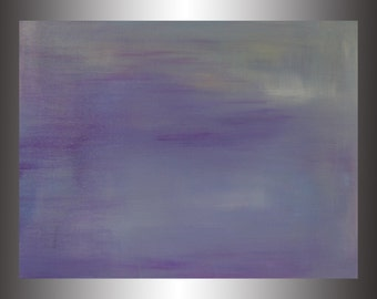 """Breezy.  Original Abstract Acrylic Painting on canvas board. 18"""" x 24"""" Purples, white, gold"""