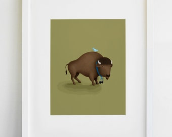 Bison Bird Watcher Print