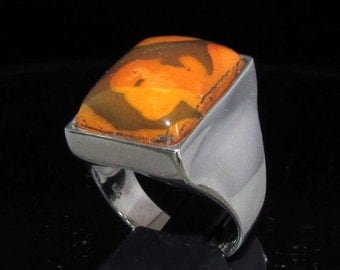 Simple designed Gemstone Ring with an rectangle shaped brown Jasper Sterling Silver 925 size 10 (GR273)