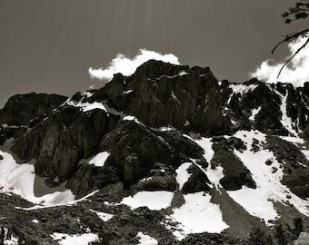 Black and White Mountains and Lake with White Caps Montana