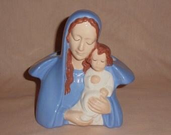 CLEARANCE Hand Painted Ceramic Madonna with Child Planter
