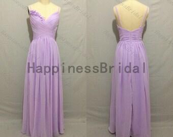 Long straps dress with flowers,sleeveless prom dress,long evening dress,fashion bridesmaid dress,chiffon prom dress,evening dress
