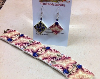 Set of earrings and bracelet with Portuguese tile replica