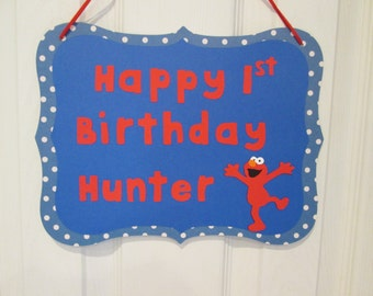 Elmo door sign, Elmo birthday decorations, personalized door sign, Happy Birthday door sign