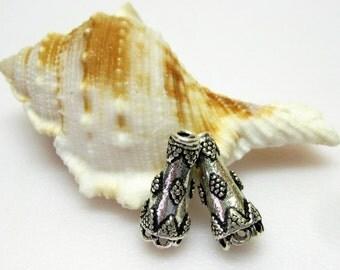 Fancy Bali Silver Bead Cones - Silver Bead Cones - Metal Bead Cones - Destash - Craft Supplies - Beading Supplies - (2)