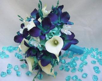 Laura's Bridal Bouquet with Teal Purple Dendrobium Orchids, White Calla Lilies, Stephanotis, Turquoise Hydrangeas,Singapore,Galaxy