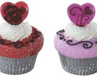 Valentine Heart Pick Cupcake Toppers