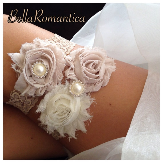 Country Wedding Garters: Taupe Wedding Garter Country Western Garter Set By