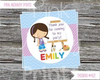 DIY - Girl Art Birthday Party Favor Tags- Coordinating Items Available