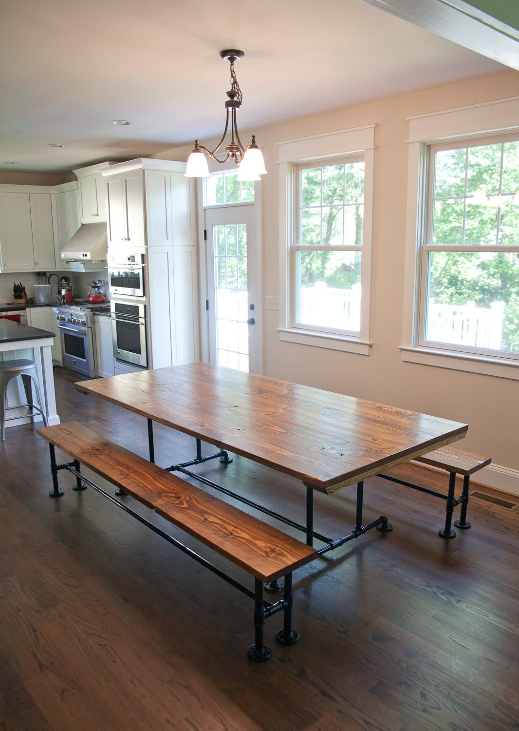 6ft industrial style farmhouse table farmhouse dining table. Black Bedroom Furniture Sets. Home Design Ideas