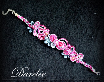 Ravishing Pink Soutache Bracelet