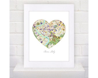 8x10 Digital Download Rome Italy vintage Heart Map city print art modern