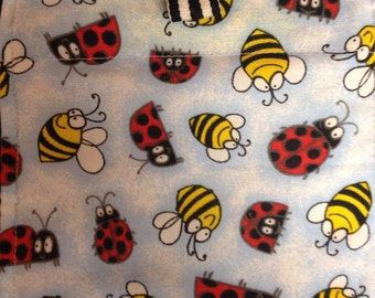 Reusable/no spill/washable snack bag bees and ladybugs