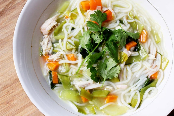Lemon Ginger Chicken Noodle Soup by CocinaStina on Etsy