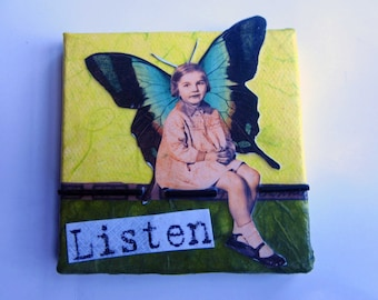 Small Original Collage Mixed Media Art Angel