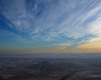 Israel Landscape Photography, Sunrise Photo, Negev Desert Sunrise, Israel Fine Art, Sunrise Home Decor, Blue and Yellow Art Print