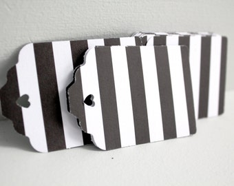 24pcs Black and white stripe tags, Black stripe gift tags, Black and white wedding favors, Black escort cards, Modern wedding paper tags